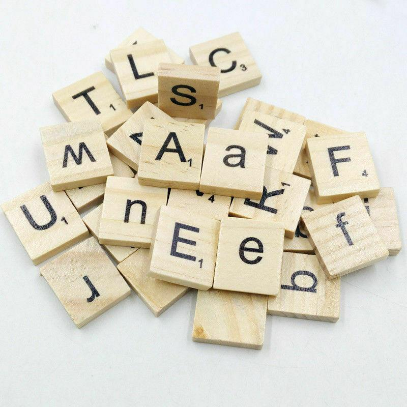 100 PCS Wooden Scrabble Tiles Black Letters Numbers For Crafts Wood Alphabet Toy
