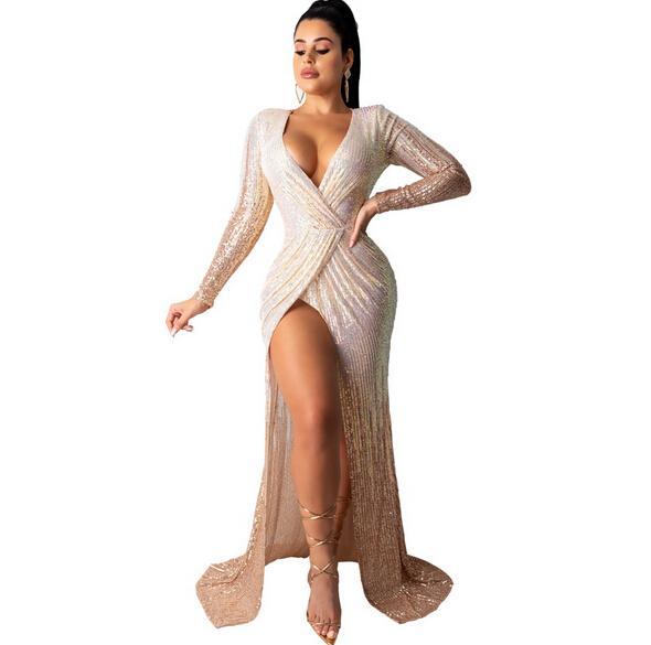 V Neck Split Evening Dresses