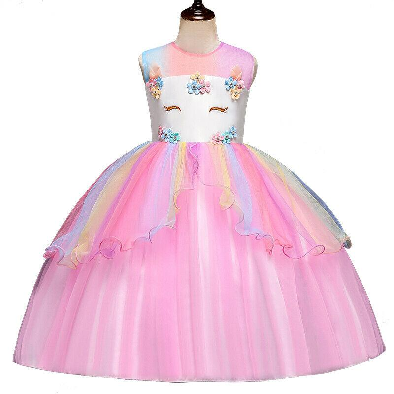 Kids Girls Rainbow Clothes Unicorn Princess Party Prom Dress