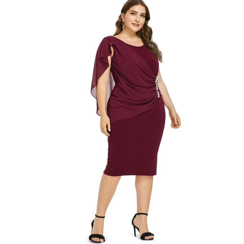 Womens Bodycon Flutter Formal Overlay Cocktail Evening Party Dress