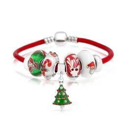 Christmas Tree Reindeer Bead Charms Bracelet