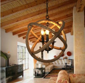 Vintage Industrial Retro Ball Hemp Rope Ceiling Pendant Lamp