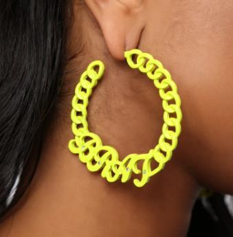 Brat Chain Hoop Earrings