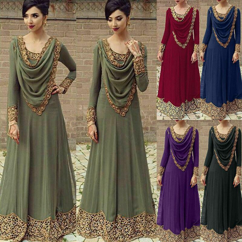 Muslim Women Dress Islam Loose Retro Long Sleeve Heap Collar Maxi Dresses