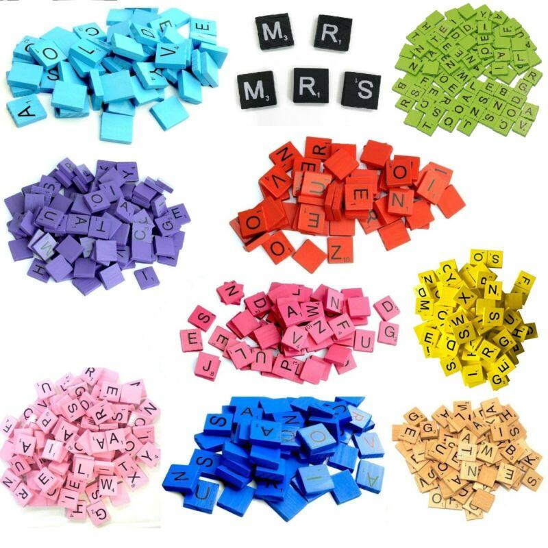 Colored Wooden Scrabble Tiles complete set color Craft Pendant Spelling Alphabet
