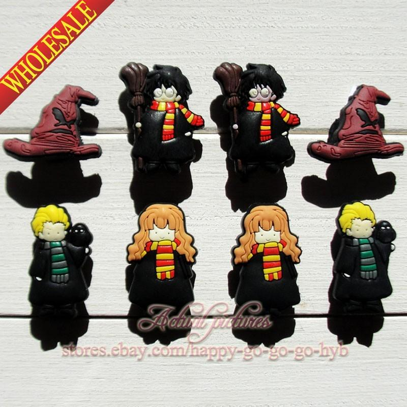 Min Order=100Pcs Harry Potter PVC Shoe Charms Buckle Fit for Shoes & Bracelets ,Charm Decoration,Shoe Accessories Party Gift