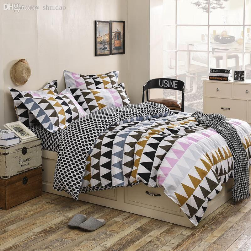 Wholesale tlfe nordic town printed luxury cotton bedding for Housse de couette king size