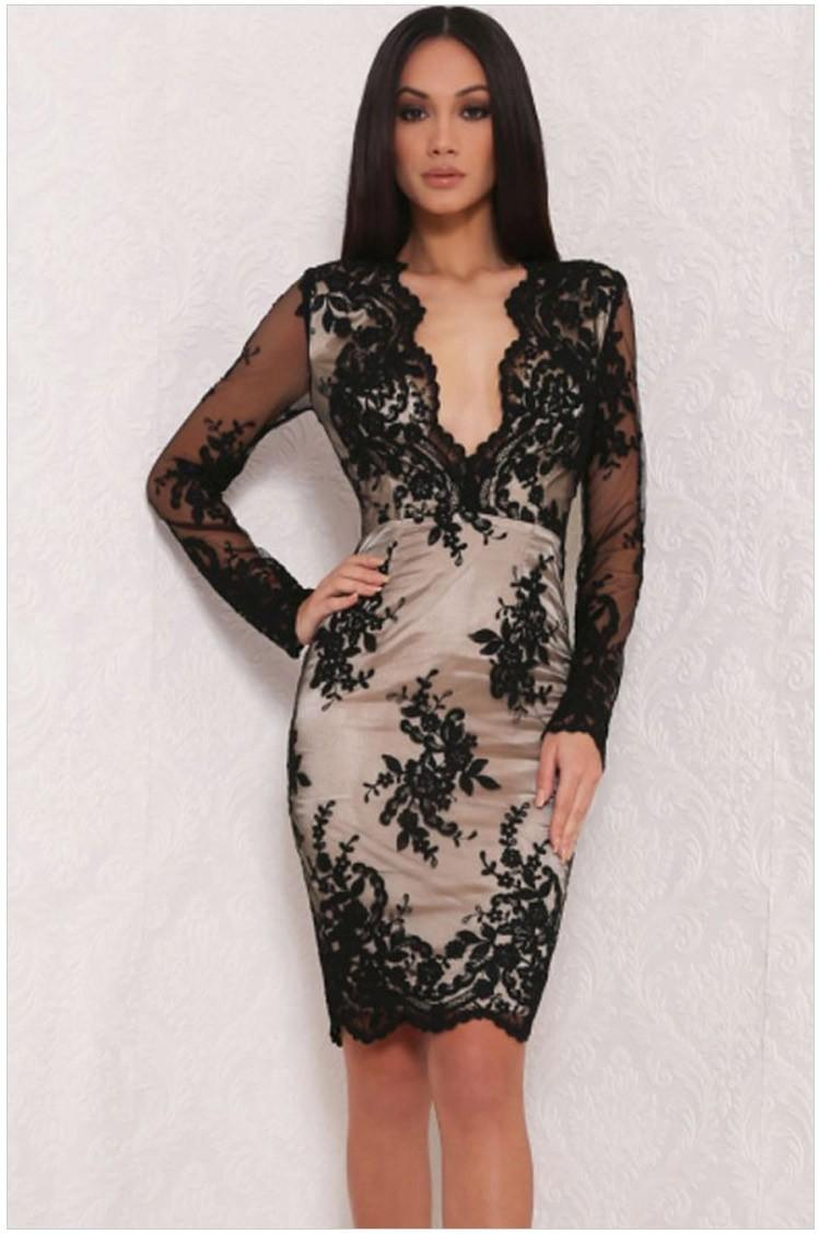 Christmas dress casual - 2016 New Sexy Casual Dress Women Winter Spring Fall Black White Lace Dress Long Sleeve New Year Party Dress Christmas Print Dress