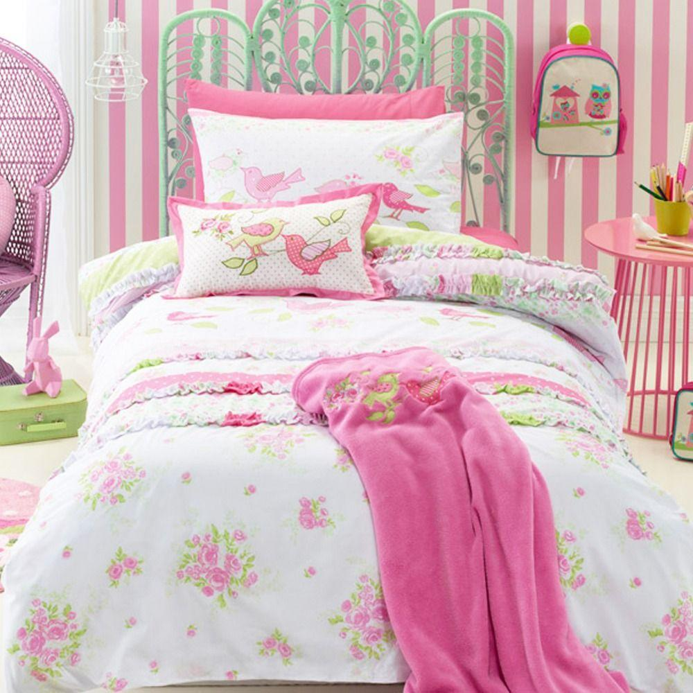 Shabby Chic Kids Bedding Set Cartoon Single Bed Duvet/Quilt Coveru0026Pillow  Case Cover For Children Room 2pcs/set Bedclothes Single