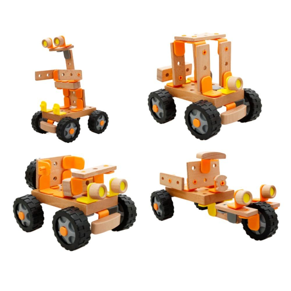 wooden toys car changeable building blocks construction assembly