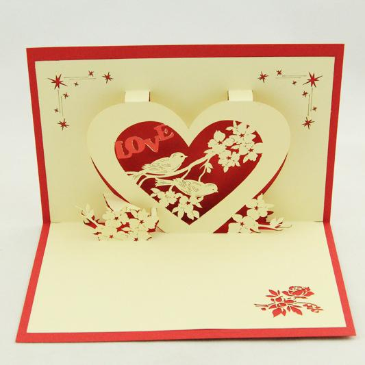Qubiclife ValentineS Day Cards Wedding Cards Love Birds Fly – 3d Valentine Cards