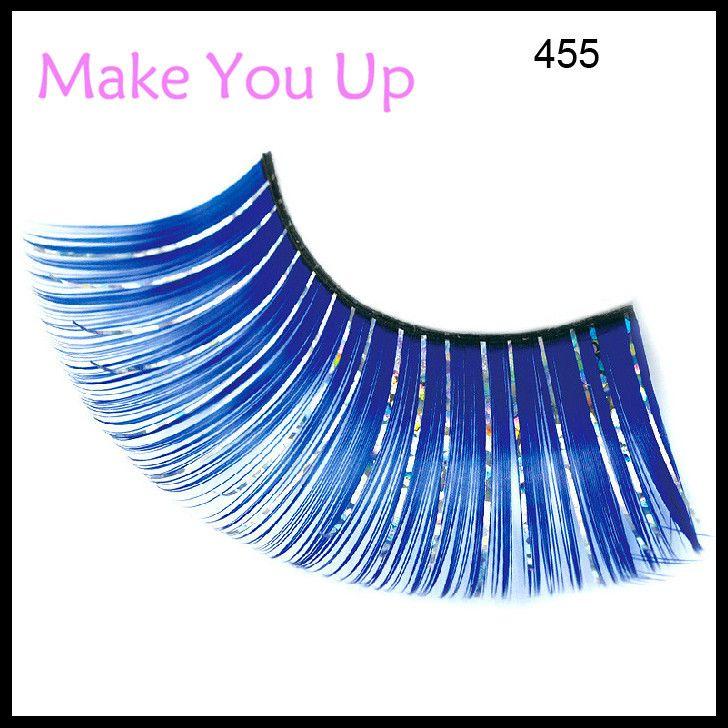 Blue Eyelashes Glitter False Eye Lashes For Wedding Custume Ball ...