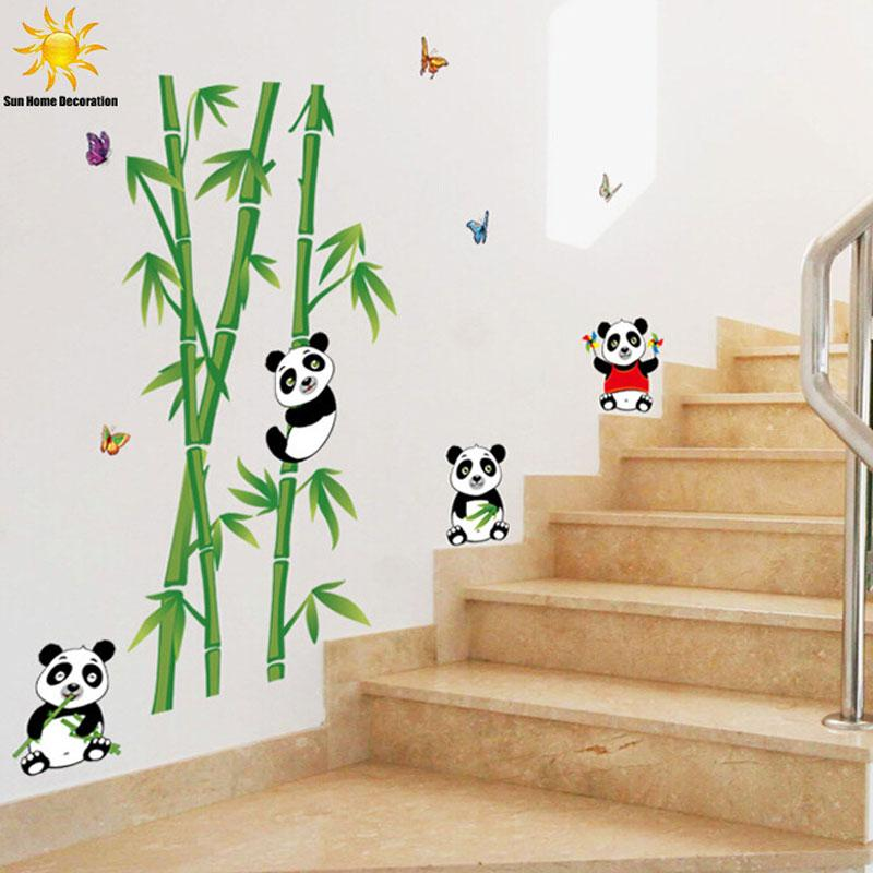 Cute cartoon panda bamboo wall sticker for kids rooms for Vinilos pared fortnite