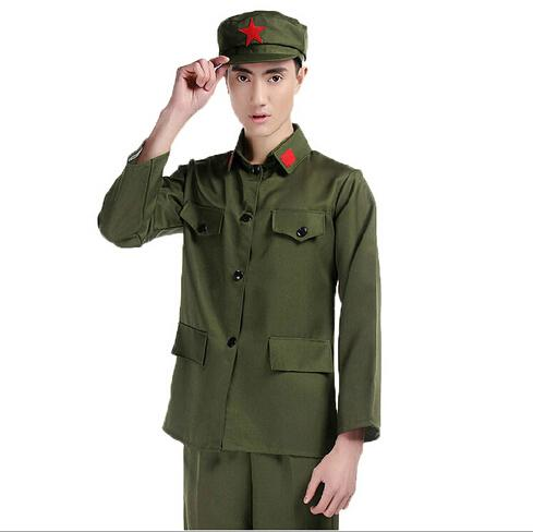 adult men fancy dress chinese red army star soldier brave army cosplay costume sets halloween makeup party costumes cosplay men clothing sets red army - Halloween Army Costumes