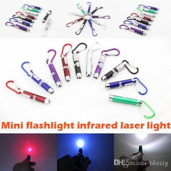 Mini Flashlight Carabiner Key Chain Mini 3 in1 Multi Color LED Key Chain Lampe d