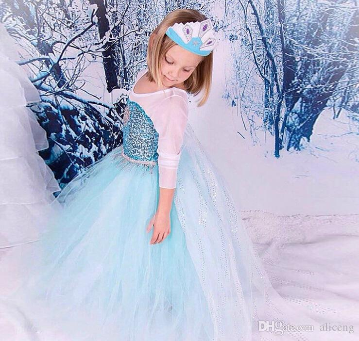 2017 3 8 Year Old Christmas Princess Frozen Dress Queen Elsa Anna Cosplay Dresses For Girl ...