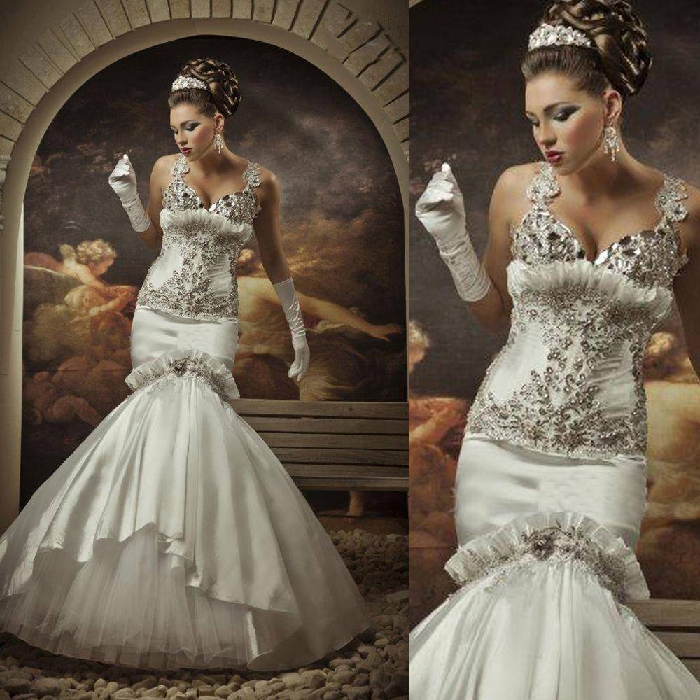 Sexy luxury designer wedding gowns crystal mermaid diamond for Diamond mermaid wedding dresses