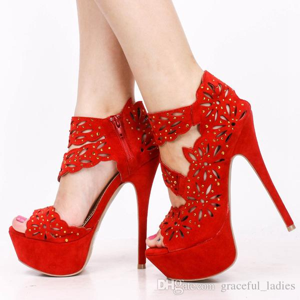 Red Sandals Womens Shoe High Heels Cutout Rhinestone Flocking Sexy ...