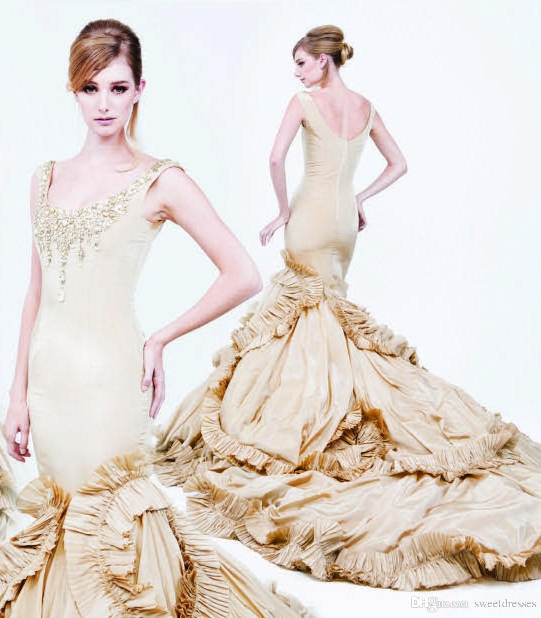 2015 Gold Taffeta Bridal Gowns Glitter Crystals Beaded