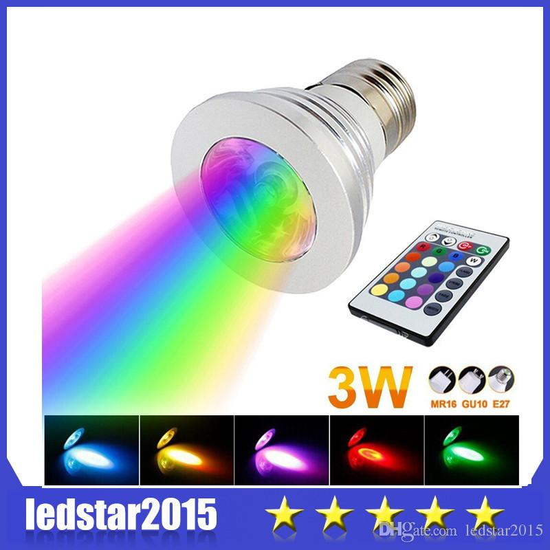 2015 3W LED RGB Bulb 16 Changement de couleur 3W LED Spotlights Lampe à lampe LE