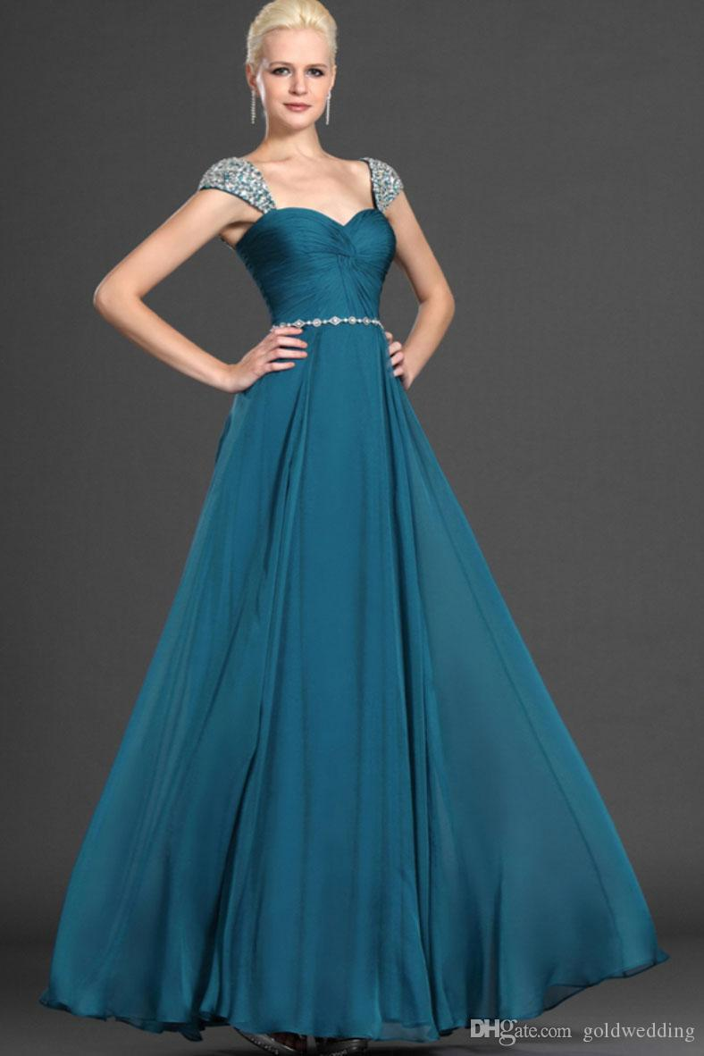 100% Soft Chiffon Evening Dress Long Evening Dress Rhinestone Belt ...