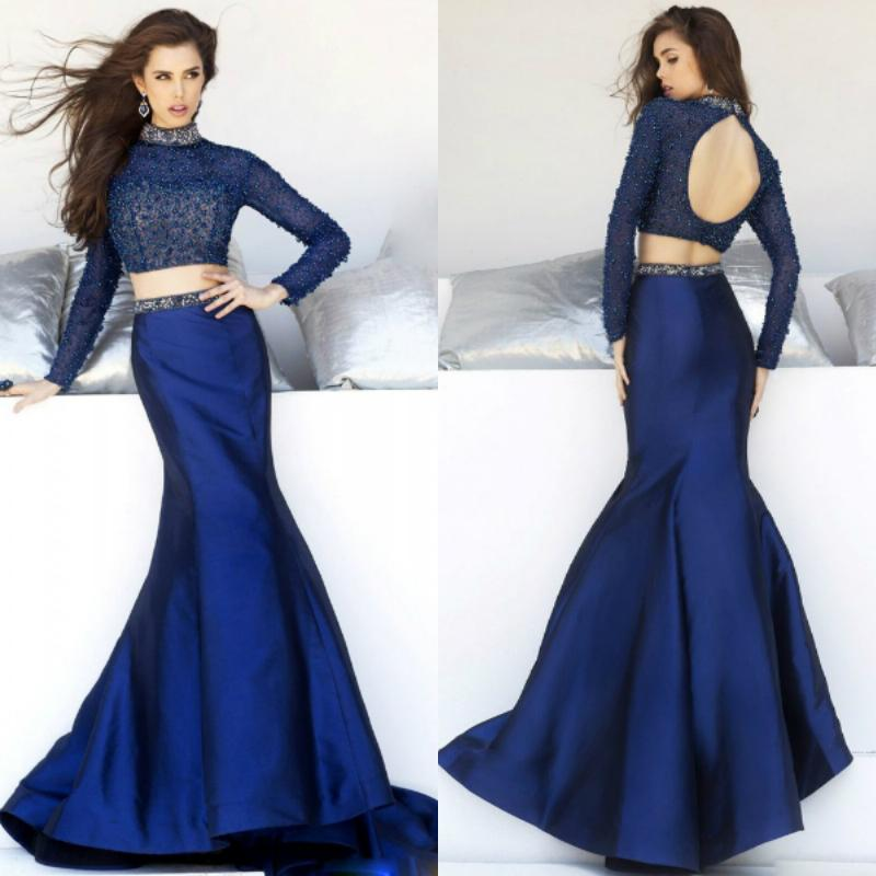 2015 Dark Blue High Neck Mermaid Long Sleeve Prom Dresses ...