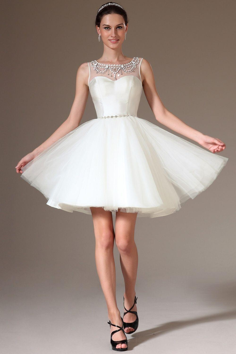 2015 Custom Made Gorgeous Short White Wedding Dresses Ball Gown ...