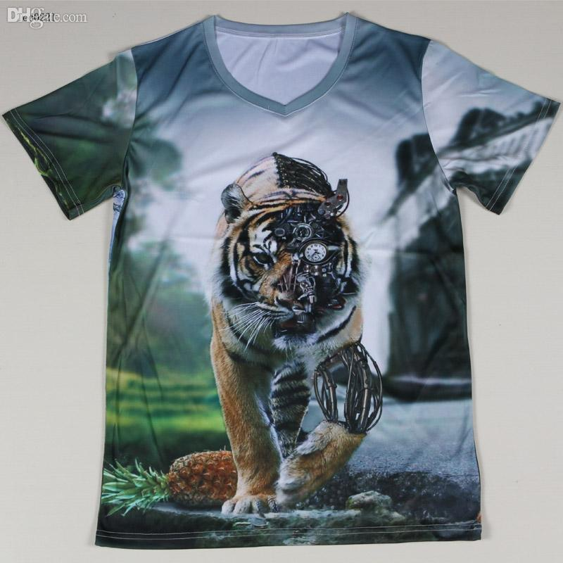 Wholesale graphic design 3d tiger men t shirts short for Wildlife t shirts wholesale
