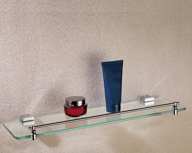 glass shelves wall mounted rectangle floating glass shelf kit with chrome plated brass for sale whosesale 205 chrome single glass shelf hardware bathroom - Bathroom Accessories Glass Shelf