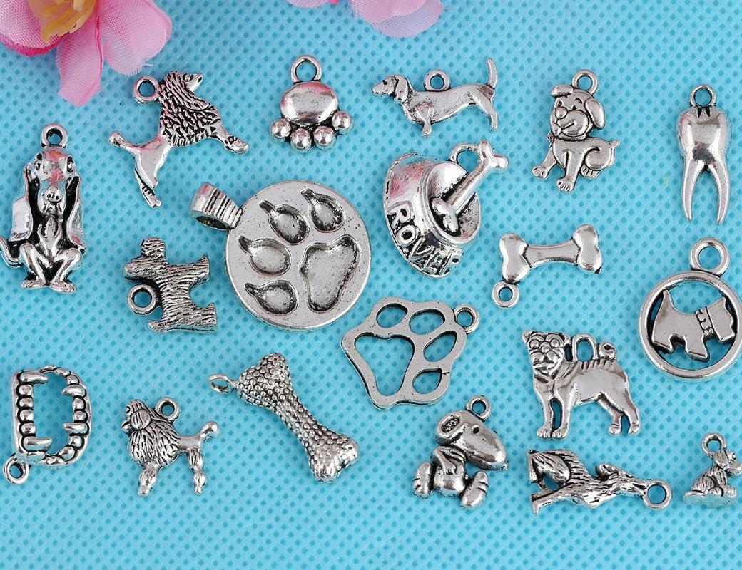 Vintage Silver Mixed Pattern Puppy Dog Paw Prints Dangles Beads Pendentifs Pende
