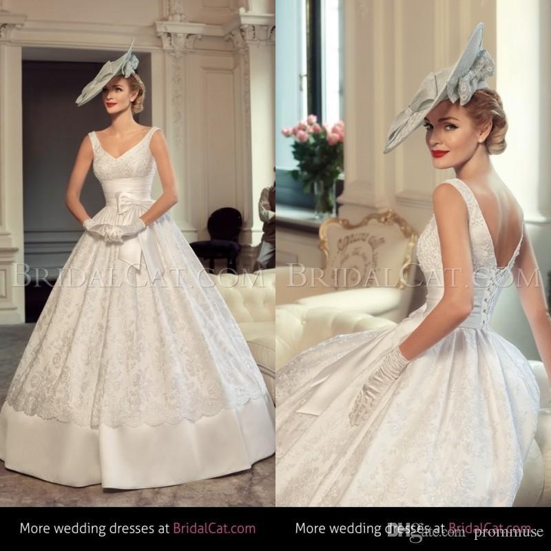 Vintage Ball Gown Wedding Dresses 2015 Tatiana Kaplun V Neck ...