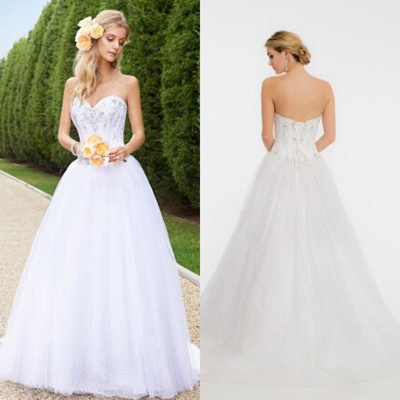 Bling Bling Simple Wedding Dresses A Line Sweetheart Sparkly ...