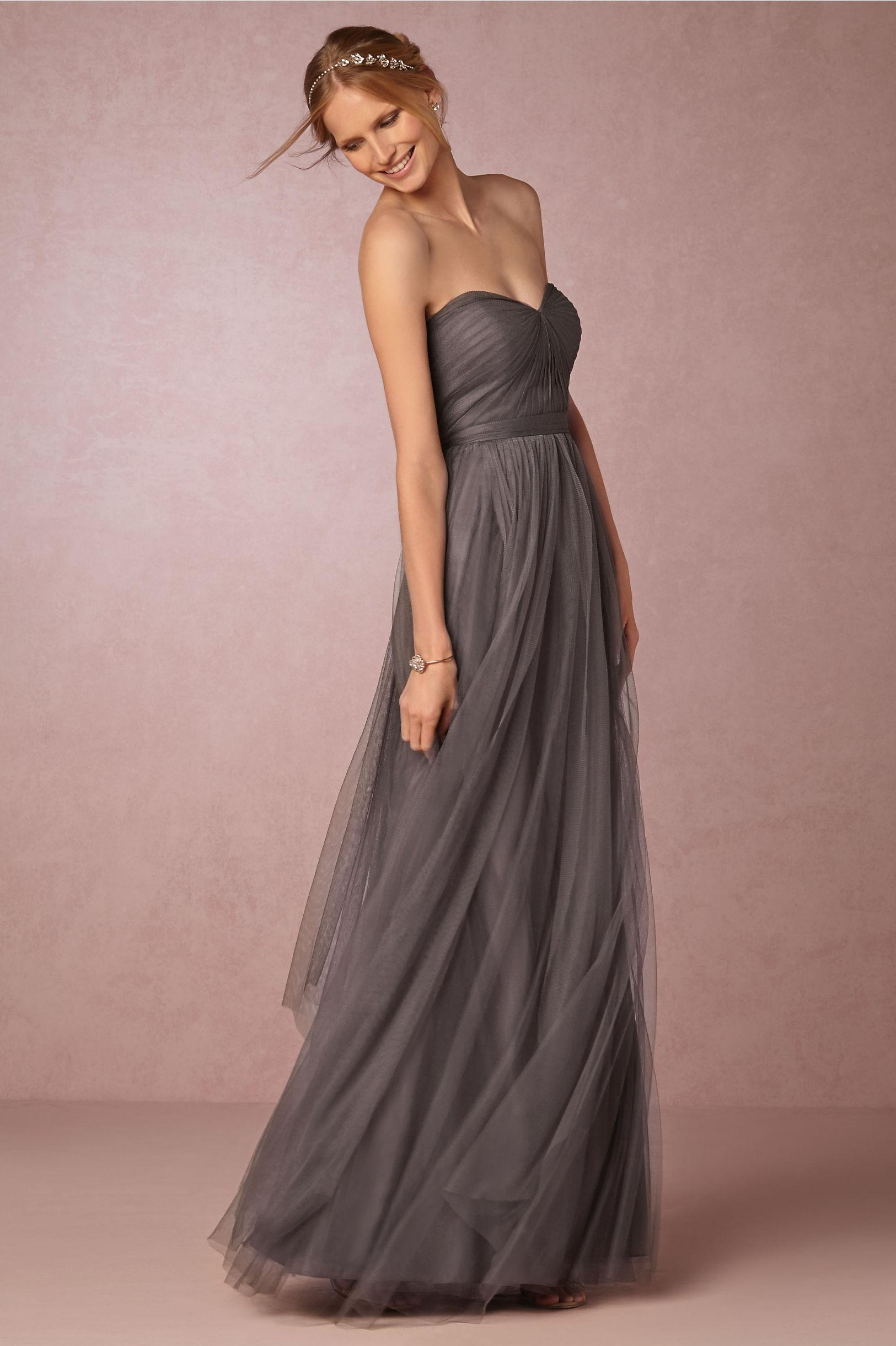 Pretty a line dark grey bridesmaid dress tulle skirt for Dark grey wedding dresses