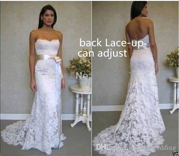 Discount Cheap Beach Wedding Dresses 2015 Under 100 Strapless White Lace With Ribbon Sash Lace