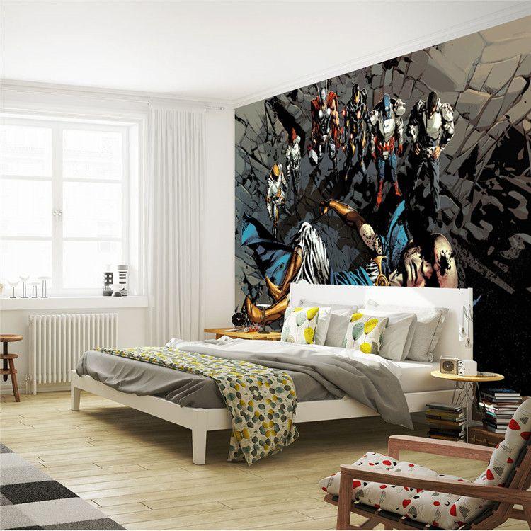 Justice league photo wallpaper superhero wall mural custom for Room decor justice
