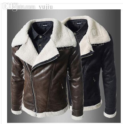 Best Fall 2015 New Men Winter Jacket Leather Jacket Fleece Wool ...