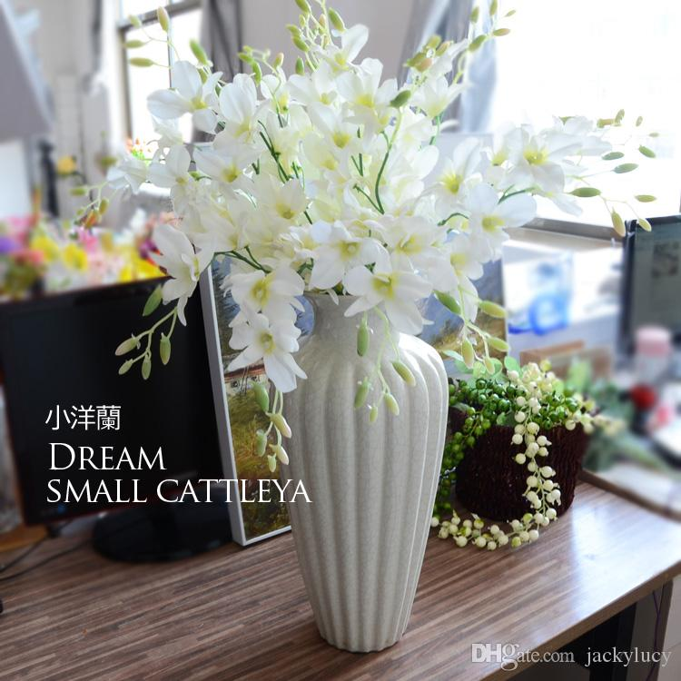 Best Quality Elegant White Artificial Silk Flower Small Orchids Living Room Ornament Flowers For