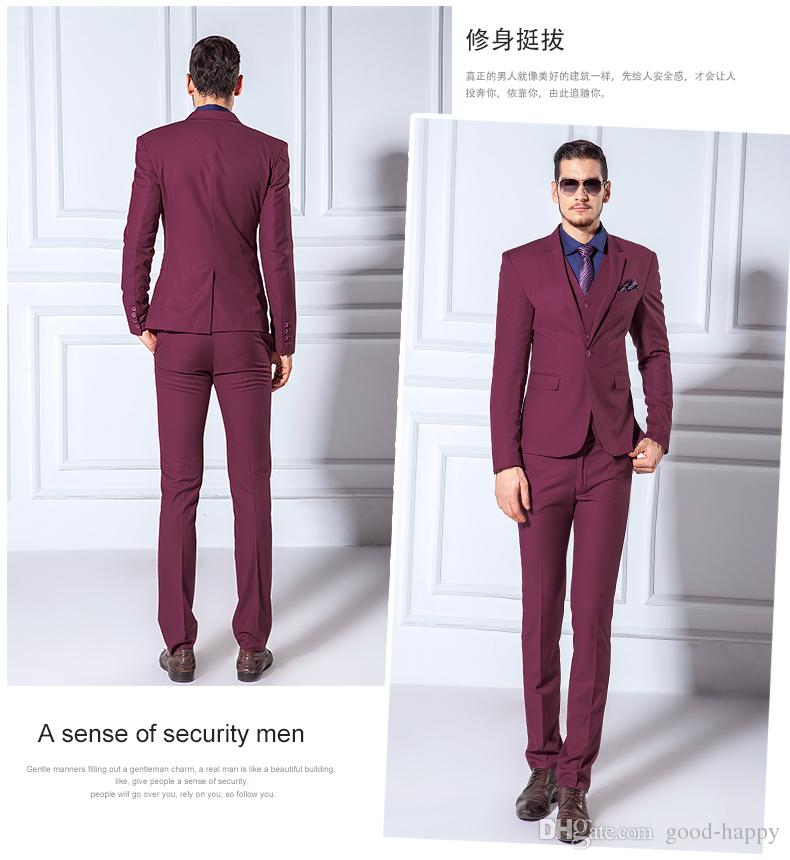 New Design Notched Lapel Wine Red Groom Tuxedos Back Vent Slim Fit ...