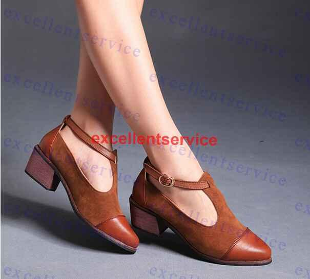 England Retro Pointed Leather Low Heel Shoes Thick With Nubuck ...