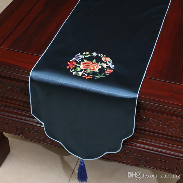 Short Length Fine Embroidered Table Runner Happy Luxury Dining Table Mats  China Style Silk Brocade High End Coffee Table Cloth 150x33 Cm Damask Table  Runner ...