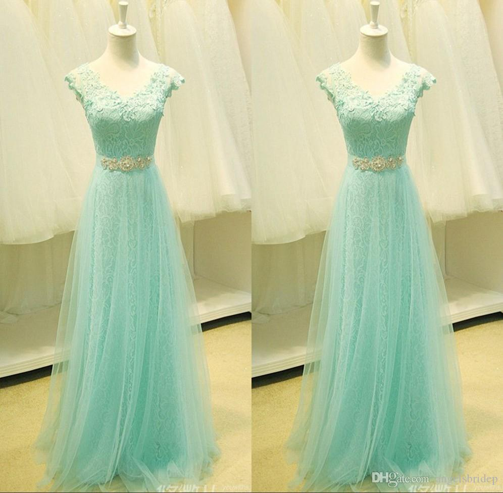 Real Samples Mint Lace Bridesmaid Dresses V Neck Capped Applique ...