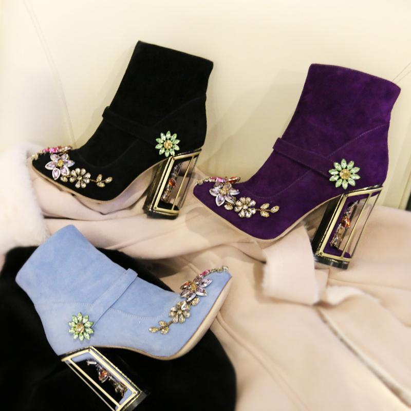 Designer Brand Women's Retro Ankle Boots Colorful Rhinestone ...