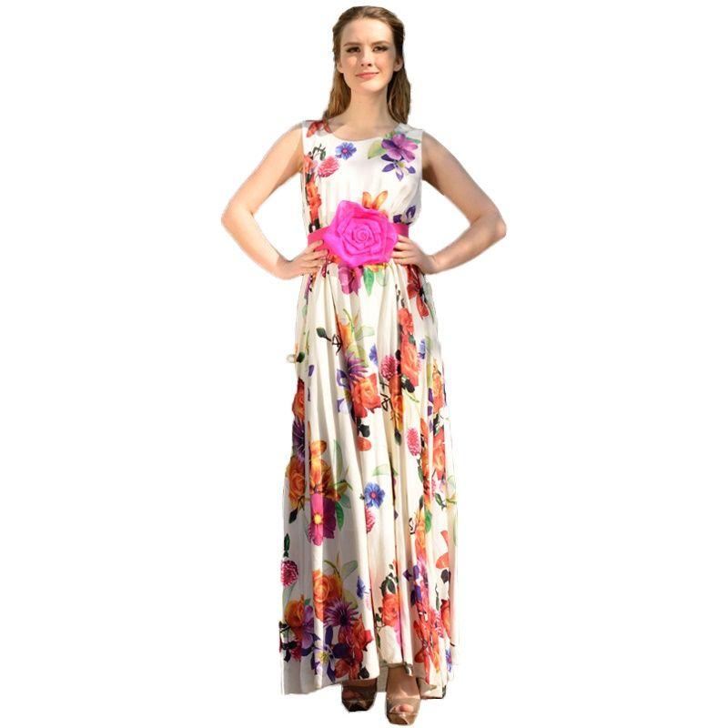 New 2014 Women Dress,Fashion Print Summer Dress For Woman Silk ...