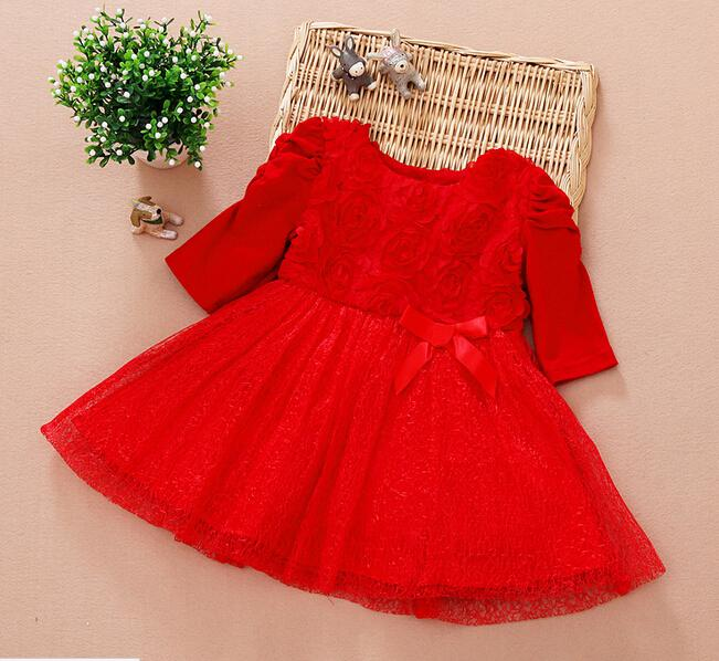 2017 Baby Girls Christmas New Arrival Girl Dresses Red Rose Bows ...