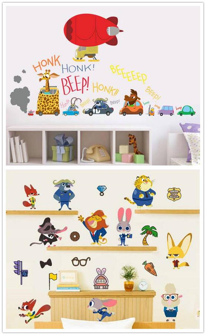New arrive 2 designs zootopia wall stickers cartoon 3d for 3d wallpaper for baby room