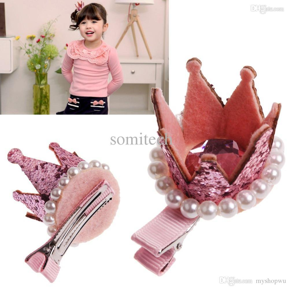 Be best hair accessories for baby - Wholesale Best Hair Boutique Baby Little Girl Princess Crown Hair Clips Hairpin Head Accessories 4