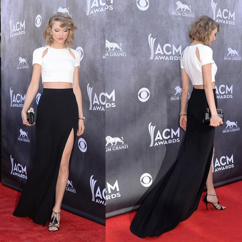 2015 Taylor Swift Black And White Celebrity Dresses Crew Neck Cut ...