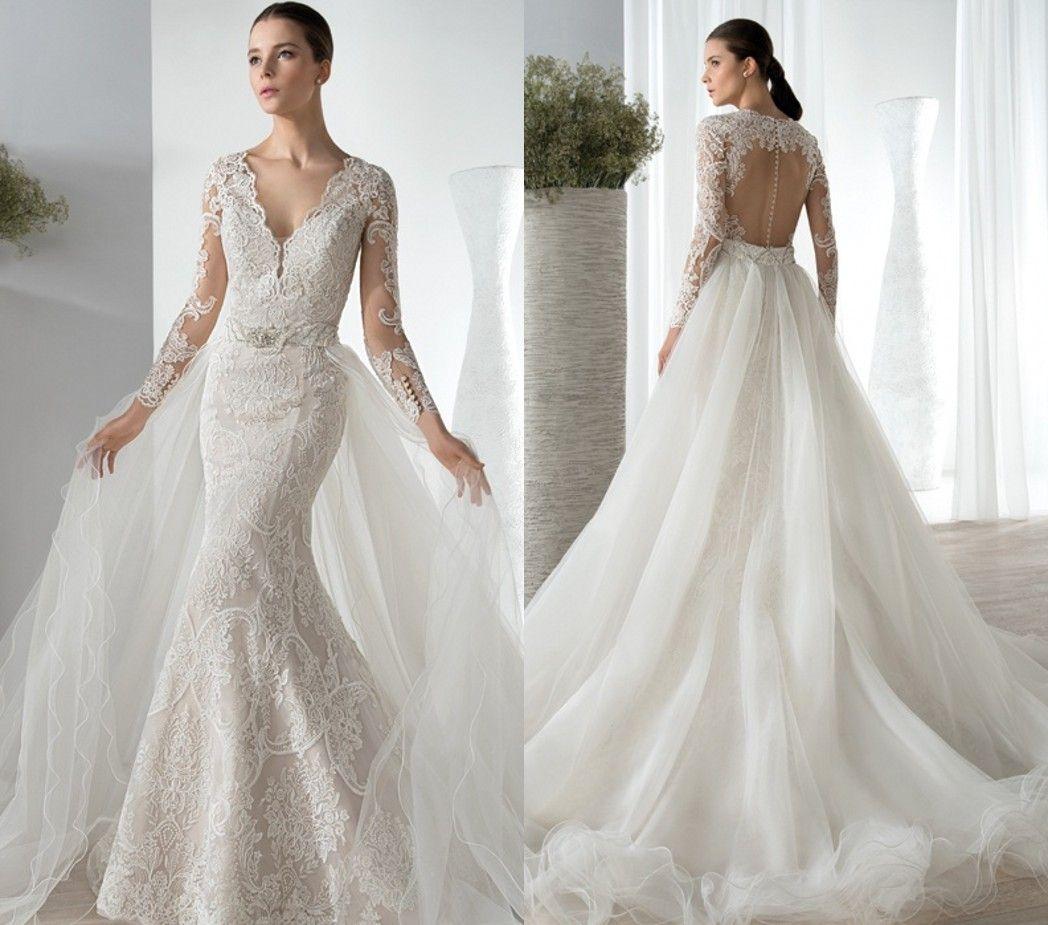 2015 v neck mermaid wedding dresses detachable train for Mermaid wedding dress with detachable train