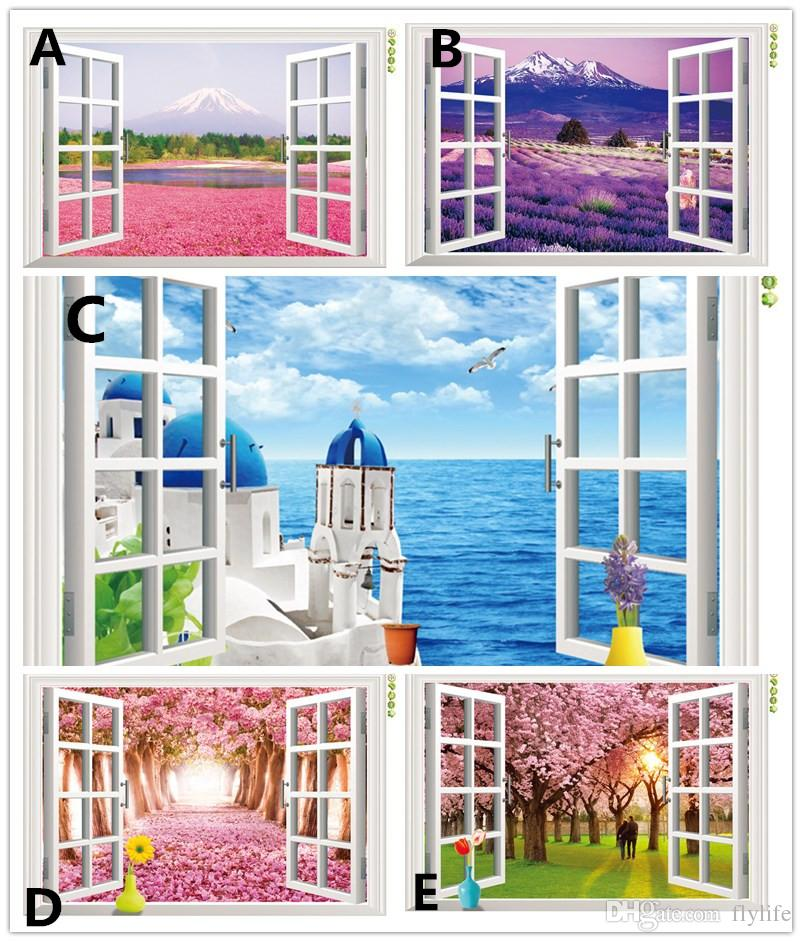 Natural scenery 3d window decal home decor mediterranean for Home window decorations