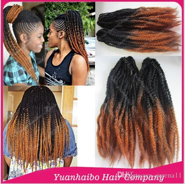 Black\/Brown Two Tone Ombre Marley Braid 100 Kanekalon